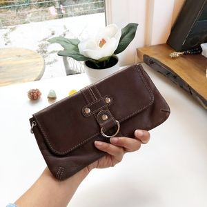 Fossil Brown Leather Front Flap Clutch